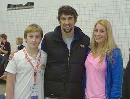 Merle with Michael Phelps at the 2009 World Cup in Stockholm
