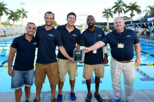 Azura coaches holding the 1st place team award for the Boys' 11-12 age group at the Junior Olympics