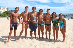 Joey with Azura teammates at the Pompano Mile Swim 2013