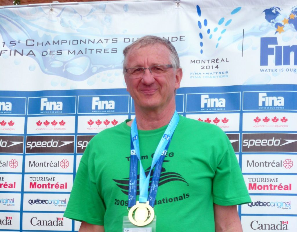 Allen Stark celebrating his world record-setting swim at the 2014 FINA World Masters Championships