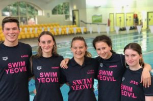 Rebecca Richards (center) is head coach at Yeovil District Swimming Club