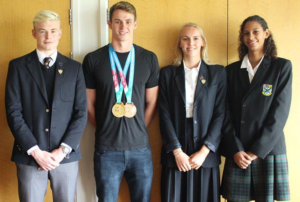 World Champion Ben Proud (alumnus, swimming for England), current pupil Katie Kyle (swimming for St Lucia) and Plymouth College current swim captains